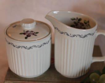 Johnson Brothers Creamer and Sugar Bowl Set - Plum Blossom Pattern, Purple Flowers