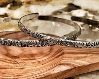 Sterling Silver Floral Bracelet - Handmade Silver Flower Bracelet