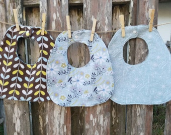 Set of Three Traditional Bibs - Neutral Floral Print