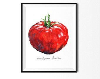 Tomato Print, Vegetable Print, Tomato Painting, Food Art, Food Illustration, Tomato Art, Tomato, Kitchen Print, Food Print, Vegetable, Red