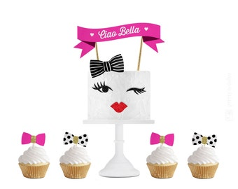 Kate Spade Inspired Party, Kate Spade Party, Kate Spade Party Decor, Kate Spade Birthday Party, Kate Spade Cake, Kate Spade, Cake Topper