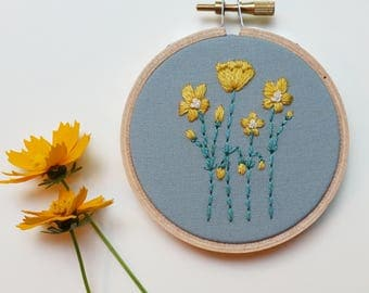 Flower Hoop Art. Botanical Art. Hand Embroidered. Yellow. 3 inch hoop. Hand Embroidery. Silk. Wool. Embroidery. Flowers. Fiber art.