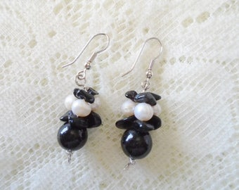 Gemstone bunch earring, Black Onyx bunch earring, Available in three colors