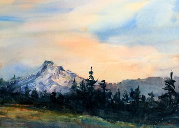 Mt. Hood 273 - original watercolor painting of Mt. Hood by Columbia Gorge artist Bonnie White