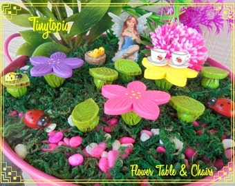 Fairy Garden Flower Table & Chair Setting Terrarium Set