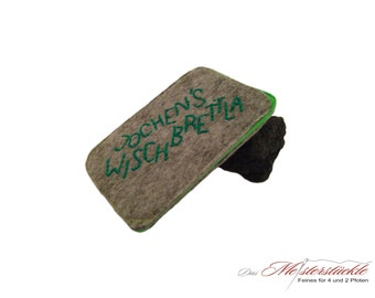Smartphone personalized gray green felt cover