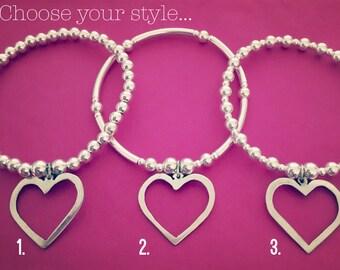 Sterling Silver Handmade Open Heart Charm Bracelet