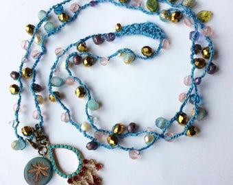 The Gypsy Dragonfly Crochet Bead Necklace
