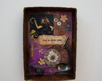 Assemblage Art Box - Assemblage Wall Art - Mixed Media - Vintage - Stevie Nicks