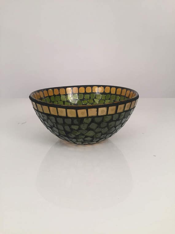 Mid-Century Mosiac glass Green & Gold Bowl dish