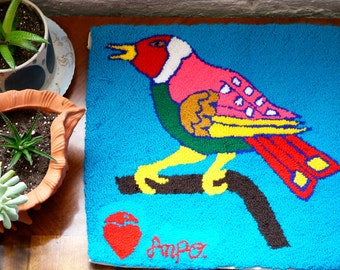 Handwoven Peruvian Bird Wall Hanging or Small Rug