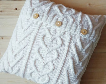 White Cable knitted Pillow Cover. Hand Knit 16x16 inches (40x40 cm). Hand Knitted Pillow Case. Sweater Pillow. Home Decor