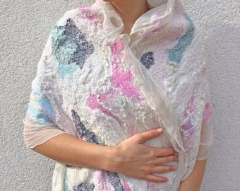 Light white silk felted scarf for women with pink and light blue details