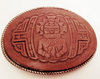 VINTAGE Tooled Leather - Aztec - Belt Buckle -  **FREE SHIPPING**