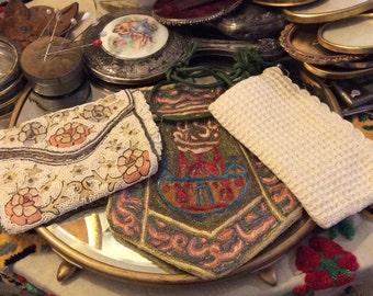 Three vintage purses, vintage purse, antique purse, beaded purse, crochet purse, embroidered purse,