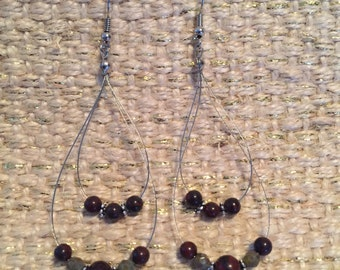 Garnet, green and silver chandelier earrings