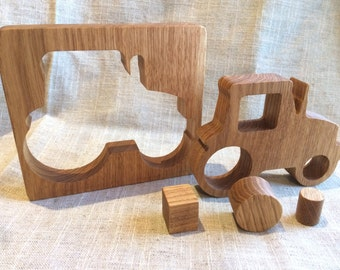 Waldorf inspired wooden toy, Tractor, Oak Tree Puzzle, Wooden Puzzle,  Eco Friendly Educational Toy,  Toddler Gift, Handcrafted