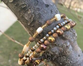 Earth Tones Layered Look Beaded Bracelet