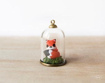 Fox necklace terrarium in a dome – kawaii pendant glass dome cute miniature forest fall autumn