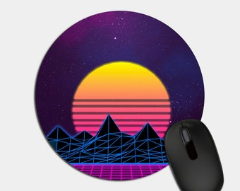 Vaporwave Moon Mousepad, Vaporwave Mouse Pad, Mouse Pad, Modern Office, Mousepad, Mousepads, Home Decor, Office Gift, Gamer Gift