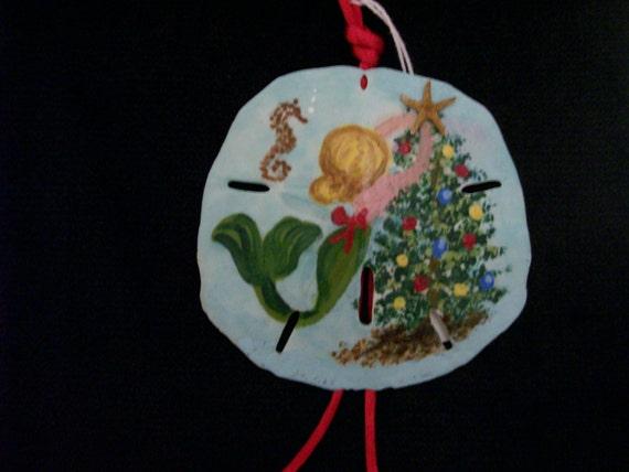 Mermaid Sand Dollar Ornament Christmas Ornament Handpainted