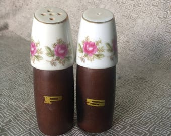 Mid Century Wood/Ceramic Salt and Pepper Shakers