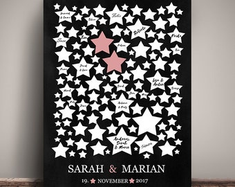 GUESTBOOK POSTER WEDDING #Stars table look personalized DIN A3 gift