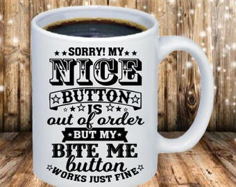 Nice button out of order Coffee Mugs