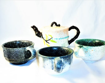 Space Hand Painted Tea Cup Set With Tea Pot