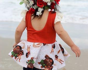 Moana inspired peplum top, scoop back, Maui, beach, ocean, summer, flutter sleeves