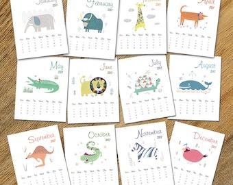 Sale 50% off, 2017 Printable calendar, animal calendar, Kids Gift, Kids Wall Art, INSTANT digital DOWNLOAD,12 Monthly planner