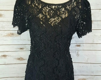 Vintage, 1980's Black sequin and lace evening dress, Size 8