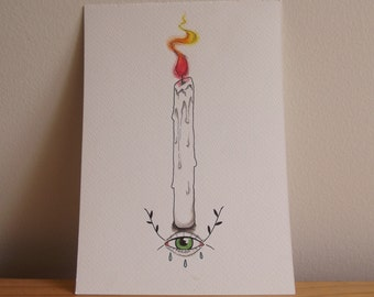 Candle & Eye Watercolour Illustration