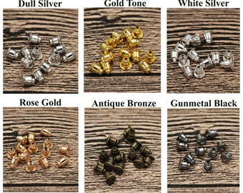 Stud Earring Backs Bullet Barrel Earnut Stopper Safety Clutch Ear Nut Bell Wire Post Components Parts