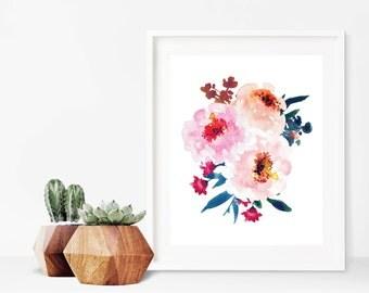 Peony Print - Watercolor Flower Printable Art - Floral Wall Art - Watercolor Decor - Digital Download - Peony Decor - Floral Art - 8x10