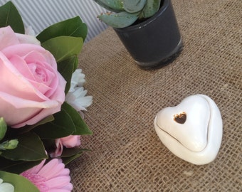 Mother's Day special. Adorable romantic white heart jewellery box with 24 carat gold heart detail.