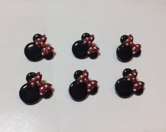 Minnie Button set of 6 Disney Ear Buttons Disney Buttons, Jesse James Buttons, Minnie Mouse Ear Buttons Minnie glitter embellishment button
