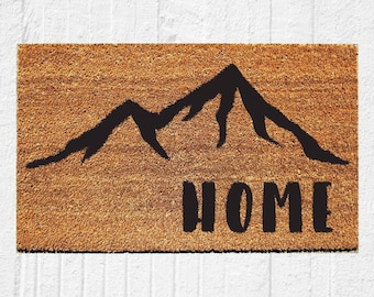 Home Doormat with Mountains | Welcome Mat | Door Mat | Outdoor Rug | Mountains | Housewarming Gift | Colorado | Cabin Decor | 18x30