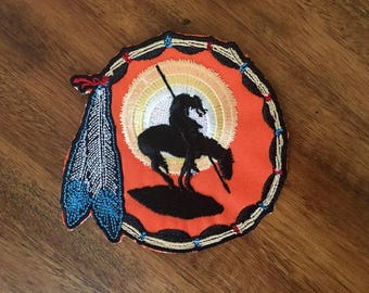 Native American Patch, end of the trail patch, desert patch, tribal patch, southwestern patch, American Indian patch, dreamcatcher patch