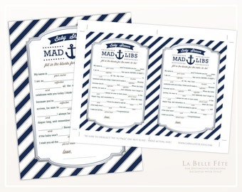 BABY SHOWER GAME Mad Libs with nautical stripes and anchor / navy blue / boy