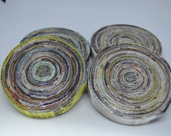 Up-cycled Set of 4 Round Magazine Coasters