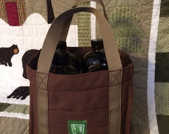 GROWLER BAG, Growler Tote, Padded / Mason Jar Tote/ Carhartt Canvas/ 32 Oz Growlers