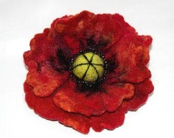 Red Poppy Brooch Felted Brooch Floral Brooch