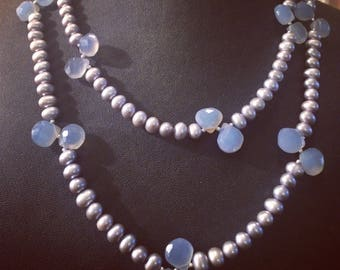 Opera Length Silver Pearls & Blue Chalcedony.