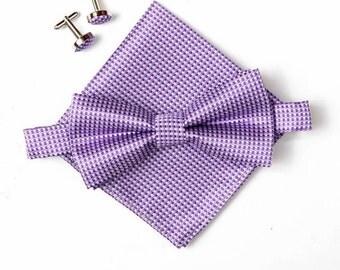 Bow Tie & Hanky Cufflinks Boyfriend Gift Men's Gift Anniversary Gift for Men Husband Gift Wedding Gift For Him Groomsmen Gift for FriendGift