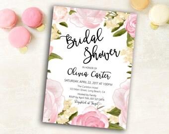 Printable Bridal Shower Invitation, Watercolor bridal invite, Bridal Shower Invite, Rose Bridal Shower Invitation, Bridal Shower Invitation