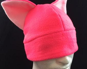 Pink Fleece Cat hat