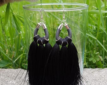 Tassel Earrings / Extra Large Fringe Earrings / Black Drop Earrings / Boho Earrings / Statement Earrings / Tribal Earrings / Rope Earrings