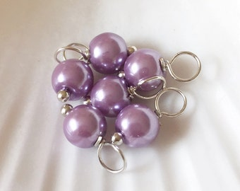 Pearl dangle charms, Lavender Purple beads, czech glass pearl round beads, dangle charms, glass pearl dangle, dangle bead charms,