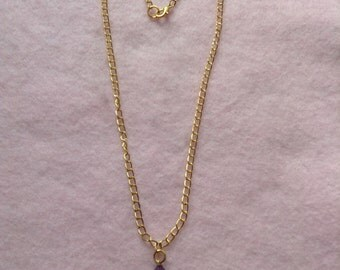 Rose Gold Plated Chain Purple Bead Necklace